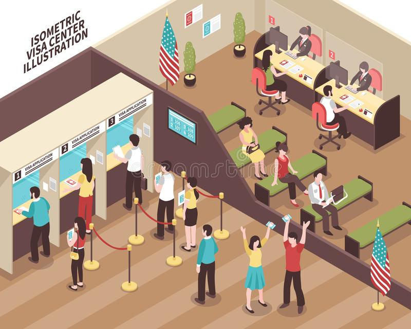 Illustrazione concentrare di visto illustrazione vettoriale