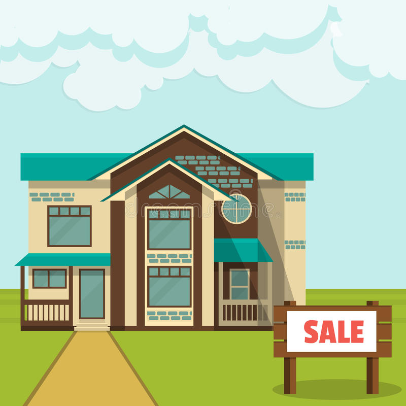 Illustrazione, concetto - cottage da vendere Stile piano illustrazione vettoriale