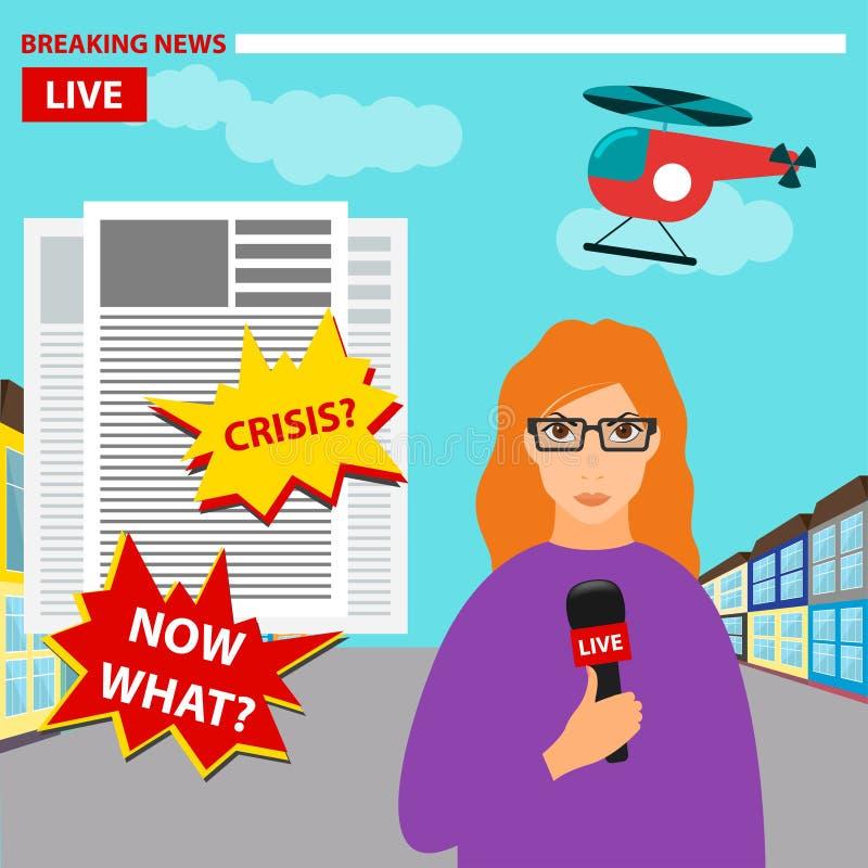 Illustrazione concettuale colorata luminosa sul tema di ultime notizie con un giornalista, conducente il rapporto illustrazione di stock