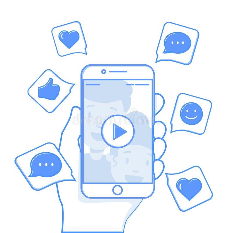 Illustrazione concettuale contenta virale Simili, parti ed osservazioni schioccando su sullo schermo mobile illustrazione vettoriale