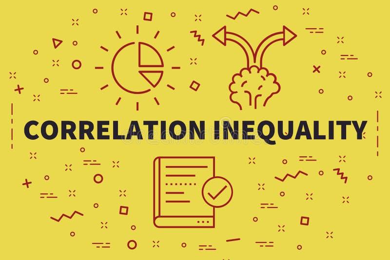 Illustrazione concettuale di affari con il ineq di correlazione di parole illustrazione vettoriale