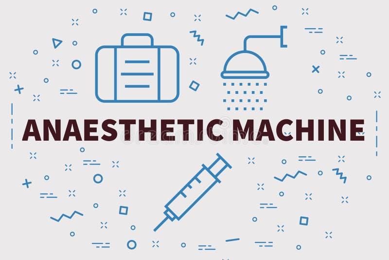 Illustrazione concettuale di affari con il mach dell'anestetico di parole illustrazione di stock