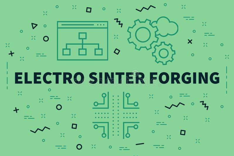 Illustrazione concettuale di affari con l'elettro sinterizzazione f di parole illustrazione vettoriale