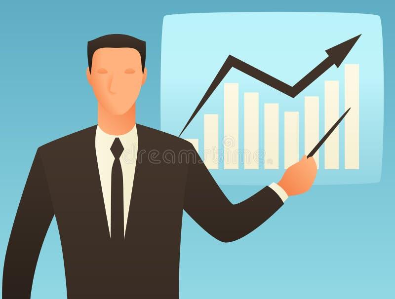 Illustrazione concettuale di affari di analisi con l'uomo d'affari ed il grafico di crescita royalty illustrazione gratis