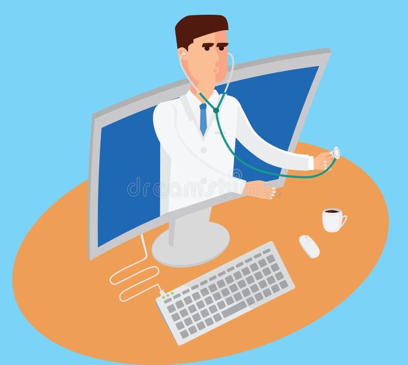 Illustrazione concettuale di telemedicina Medico maschio con lo stetoscopio sta uscendo dal computer immagine stock libera da diritti