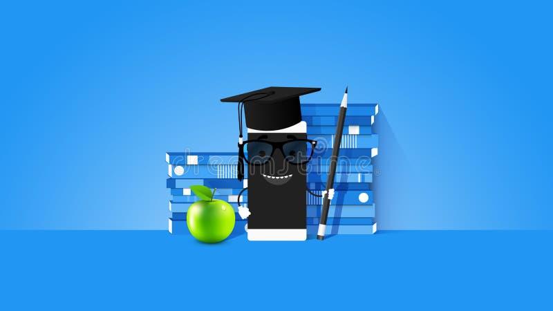 Illustrazione concettuale di vettore di e-learning con Smartphone e la pila di On The Screen dell'insegnante di libri su blu-chia illustrazione vettoriale