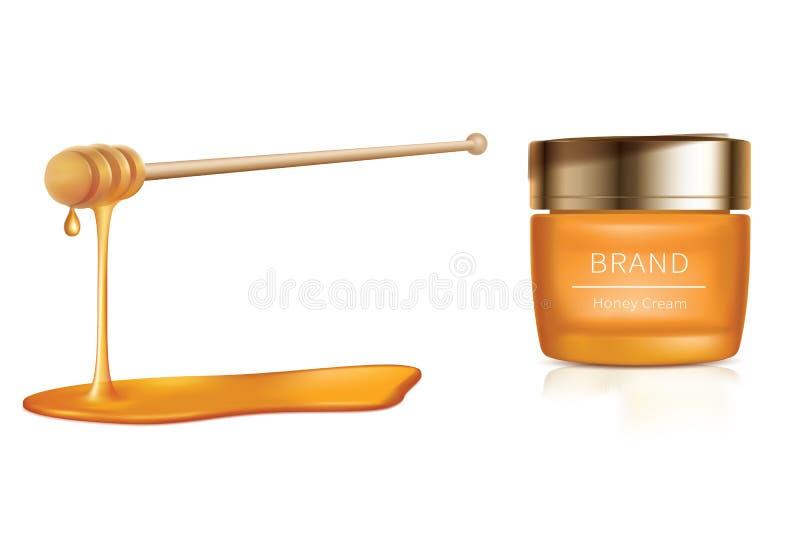Illustrazione cosmetica di vettore con i cosmetici del miele illustrazione vettoriale