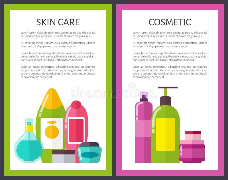 Illustrazione cosmetica di vettore di due di pelle insegne di cura illustrazione vettoriale