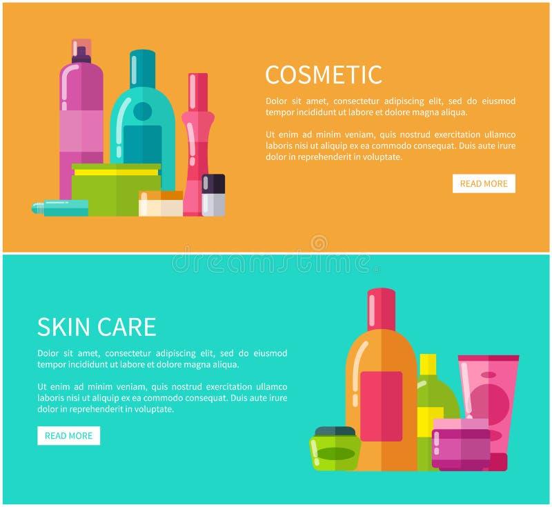 Illustrazione cosmetica di vettore di due tessere sanitarie della pelle illustrazione di stock