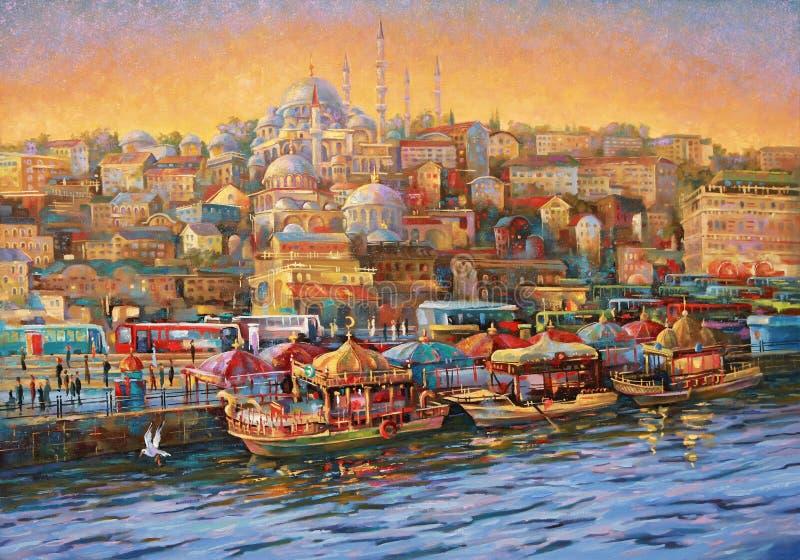 illustrazione Costantinopoli Baia dorata del corno Autore: Nikolay Sivenkov illustrazione di stock