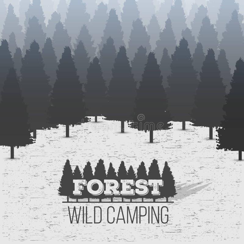 Illustrazione creativa del fondo conifero selvaggio della foresta del pino Panorama di legno della natura del paesaggio di proget illustrazione vettoriale