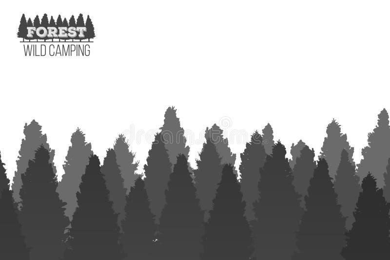 Illustrazione creativa del fondo conifero selvaggio della foresta del pino Panorama di legno della natura del paesaggio di proget illustrazione di stock