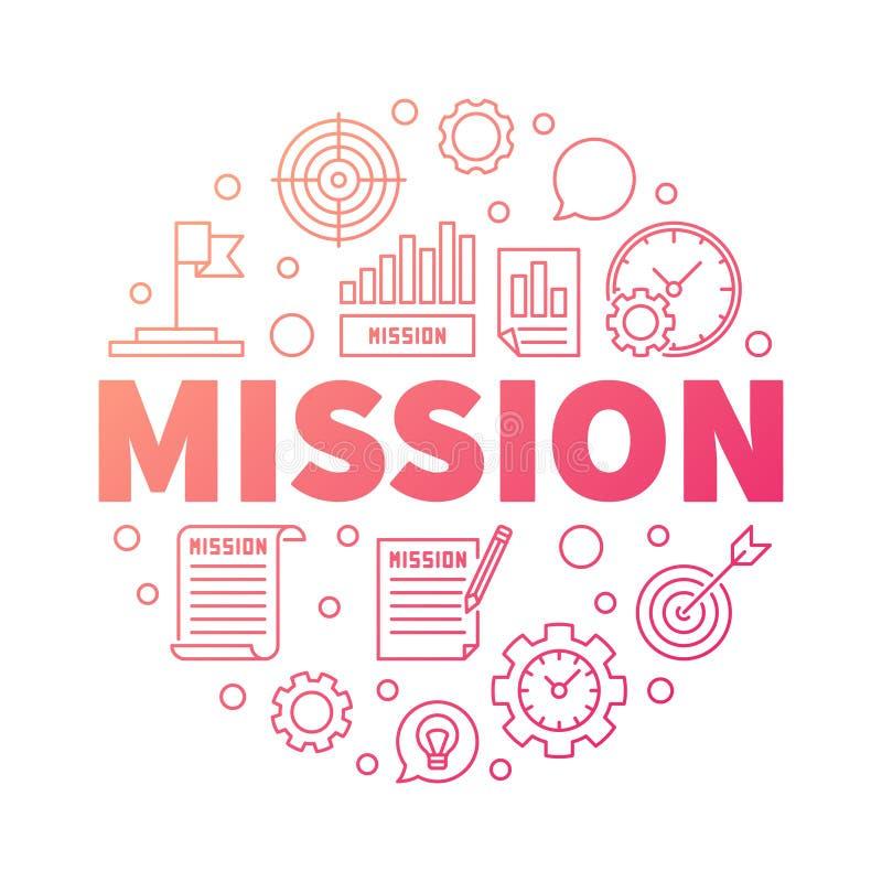 Illustrazione creativa del profilo di missione Parola MISSIONE di vettore illustrazione di stock