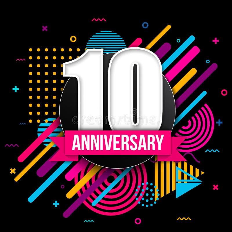 Illustrazione creativa del segno di celebrazione di logo di anniversario con differenti date isolate su fondo Compleanno moderno  illustrazione di stock