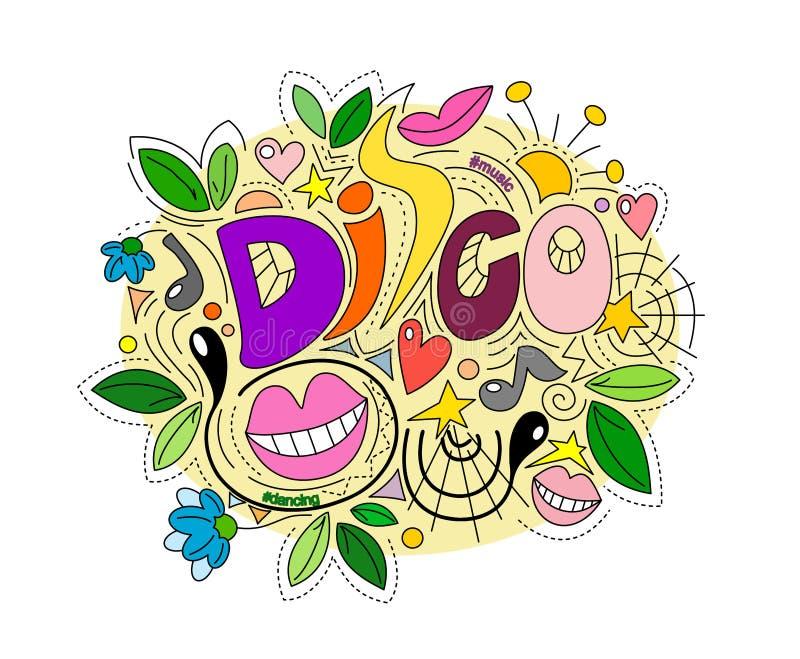 Illustrazione creativa della discoteca nello stile di scarabocchio, con gli elementi dei fiori e delle foglie illustrazione vettoriale
