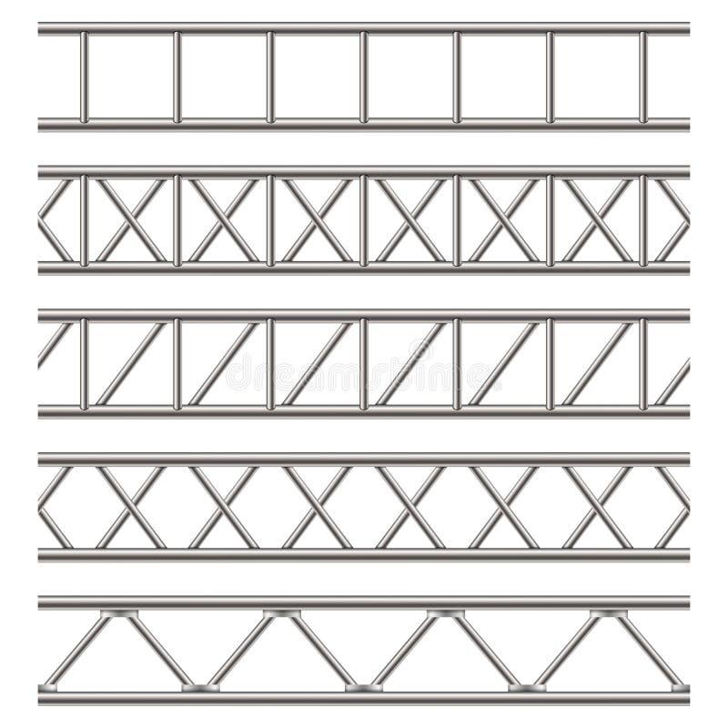 Illustrazione creativa della trave d'acciaio della capriata, tubi del cromo isolati su fondo trasparente Metallo orizzontale c di illustrazione di stock