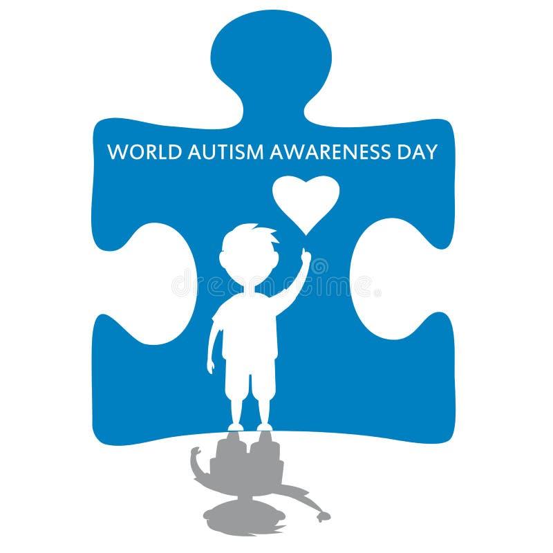 Illustrazione creativa di vettore di concetto per il giorno di consapevolezza di autismo del mondo Può essere usato per le insegn illustrazione di stock
