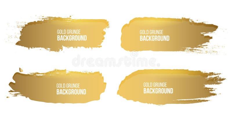 Illustrazione creativa di vettore dei colpi approssimativi della spazzola dell'oro di lerciume isolati su fondo Macchie di proget illustrazione di stock