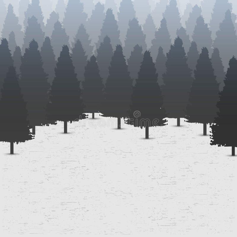 Illustrazione creativa di vettore del fondo conifero selvaggio della foresta del pino Panorama di legno della natura del paesaggi illustrazione di stock