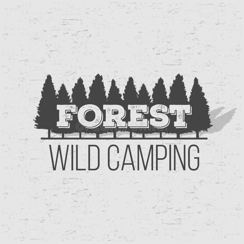 Illustrazione creativa di vettore del fondo conifero selvaggio della foresta del pino Panorama di legno della natura del paesaggi royalty illustrazione gratis