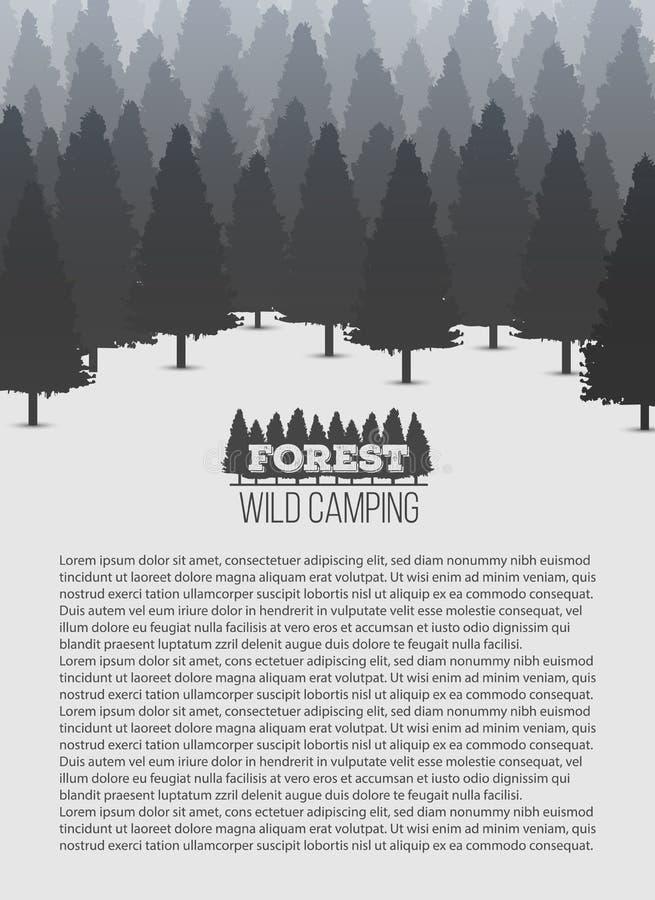 Illustrazione creativa di vettore del fondo conifero selvaggio della foresta del pino Panorama di legno della natura del paesaggi illustrazione vettoriale