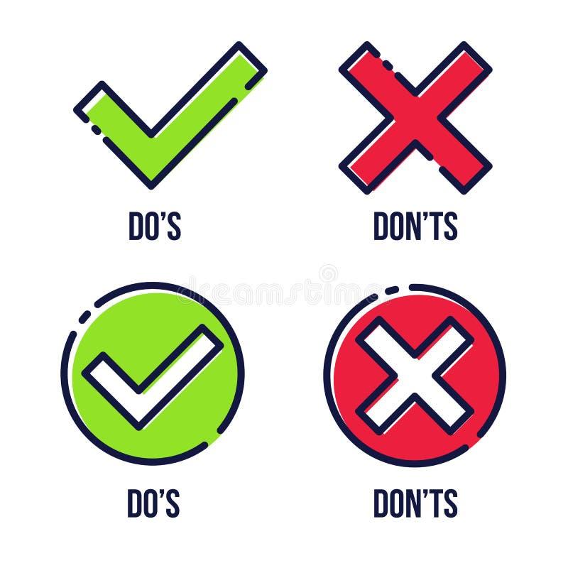 Illustrazione creativa di vettore del segno di spunta verde, croce rossa isolata su fondo trasparente La progettazione di arte co illustrazione di stock