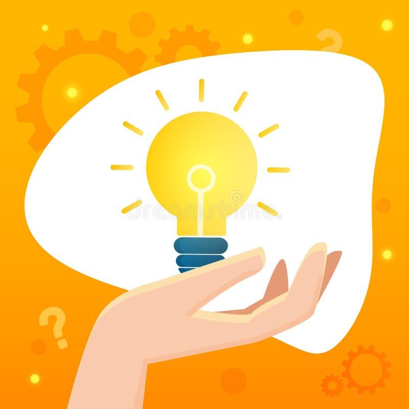 Illustrazione creativa di vettore dell'insegna di idee di affari o di pensiero con il grafico della lampadina illustrazione vettoriale