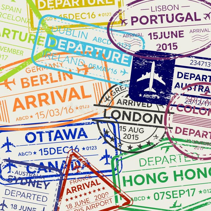 Illustrazione creativa di vettore dell'insieme internazionale del bollo del passaporto di visto di viaggio d'affari isolato su fo illustrazione vettoriale