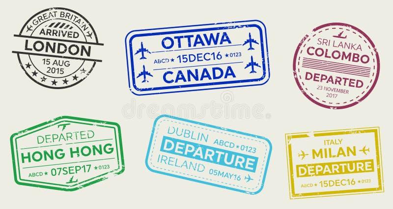 Illustrazione creativa di vettore dell'insieme internazionale del bollo del passaporto di visto di viaggio d'affari isolato su fo royalty illustrazione gratis