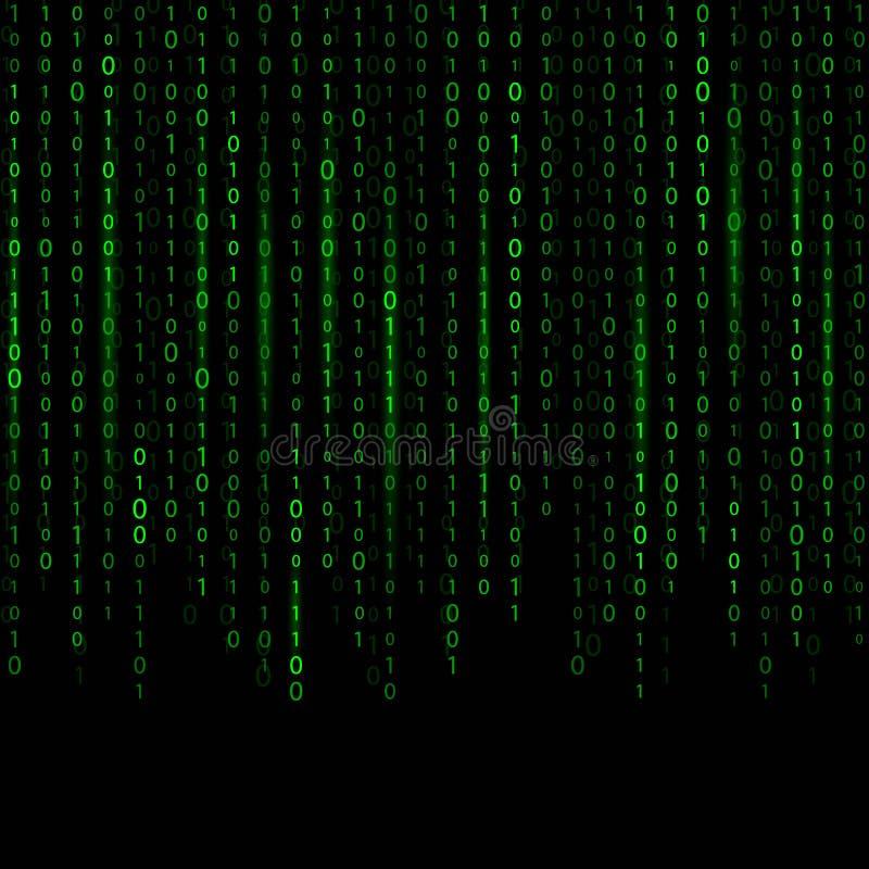 Illustrazione creativa di vettore della corrente del codice binario Progettazione di arte del fondo della matrice del computer Ci royalty illustrazione gratis