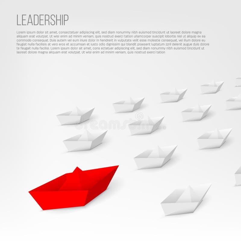 Illustrazione creativa di vettore della nave di carta rossa 3d che conduce fra il bianco isolata su fondo Barca differente a di d illustrazione vettoriale