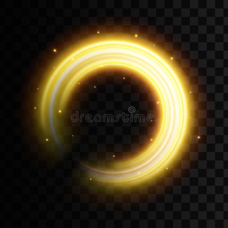 Illustrazione creativa di vettore di effetto della luce dorato, linee ondulate d'ardore, scintille della curva di lustro isolate  illustrazione di stock