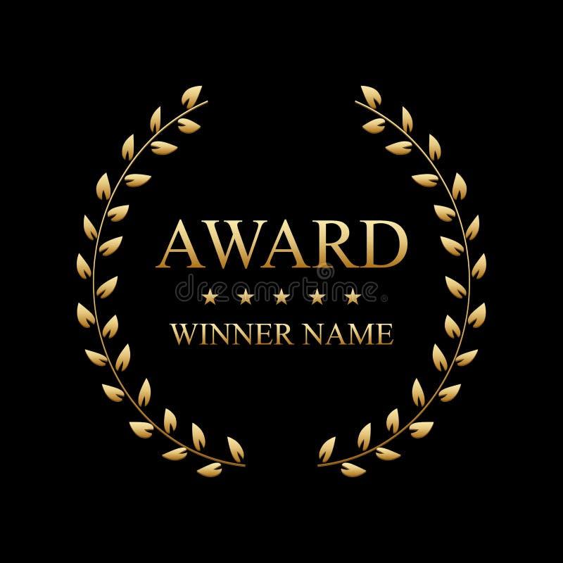 Illustrazione creativa di vettore di migliore etichetta del premio con la corona dorata dell'alloro isolata su fondo trasparente  royalty illustrazione gratis