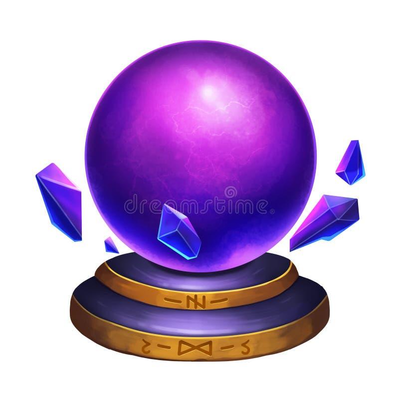 Illustrazione creativa ed arte innovatrice: Crystal Ball magico isolato su fondo bianco illustrazione vettoriale