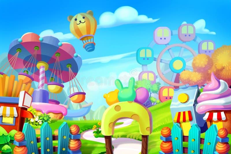 Illustrazione creativa ed arte innovatrice: Fondo messo: Campo da giuoco variopinto, parco di divertimenti illustrazione di stock