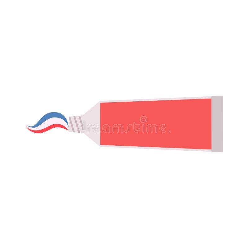 Illustrazione crema isolata bianco di vettore del tubo di dentifricio in pasta Pioggia del parasole di cura Apra la stagione del  illustrazione di stock