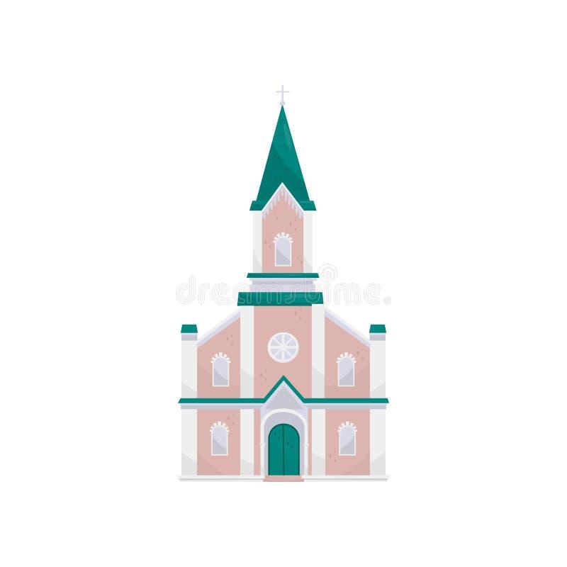 Illustrazione cristiana di vettore della costruzione di chiesa protestante su un fondo bianco illustrazione di stock