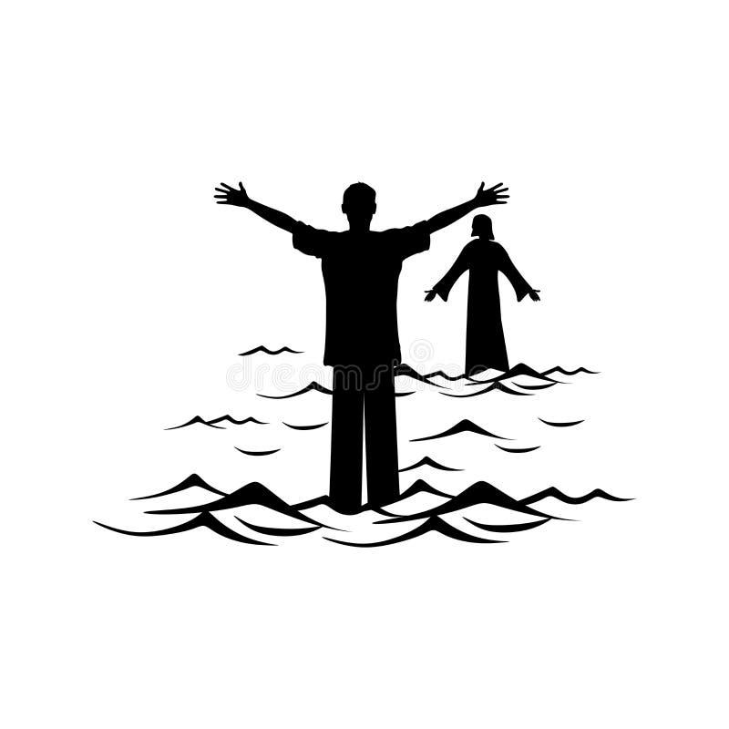 Illustrazione cristiana Un uomo cammina l'acqua verso Jesus Christ illustrazione di stock