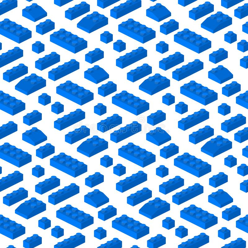 Illustrazione cubica di vettore del costruttore dei blocchetti 3d del modello di configurazione prescolare senza cuciture isometr royalty illustrazione gratis