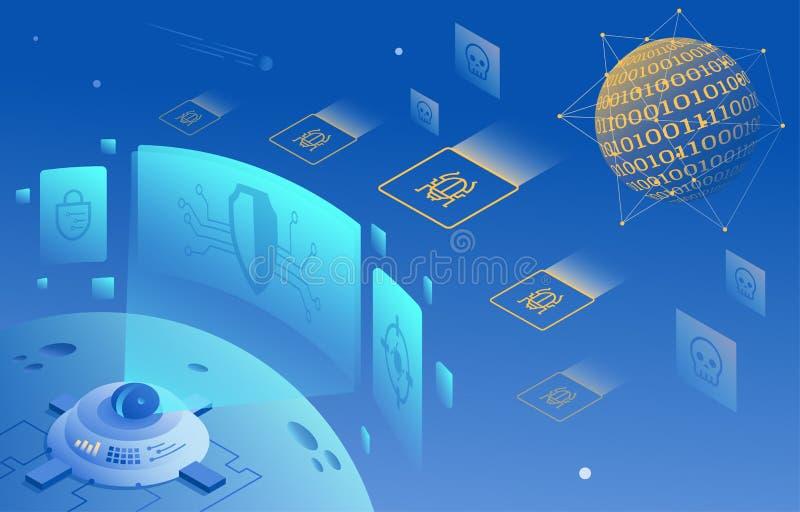 Illustrazione cyber di protezione di sicurezza e di informazioni o della rete illustrazione vettoriale