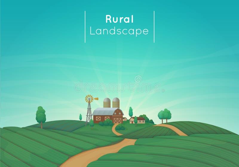Illustrazione d'agricoltura rurale di vettore del paesaggio Casa, granaio, silos, mulino a vento con i cespugli ed alberi dell'az illustrazione vettoriale
