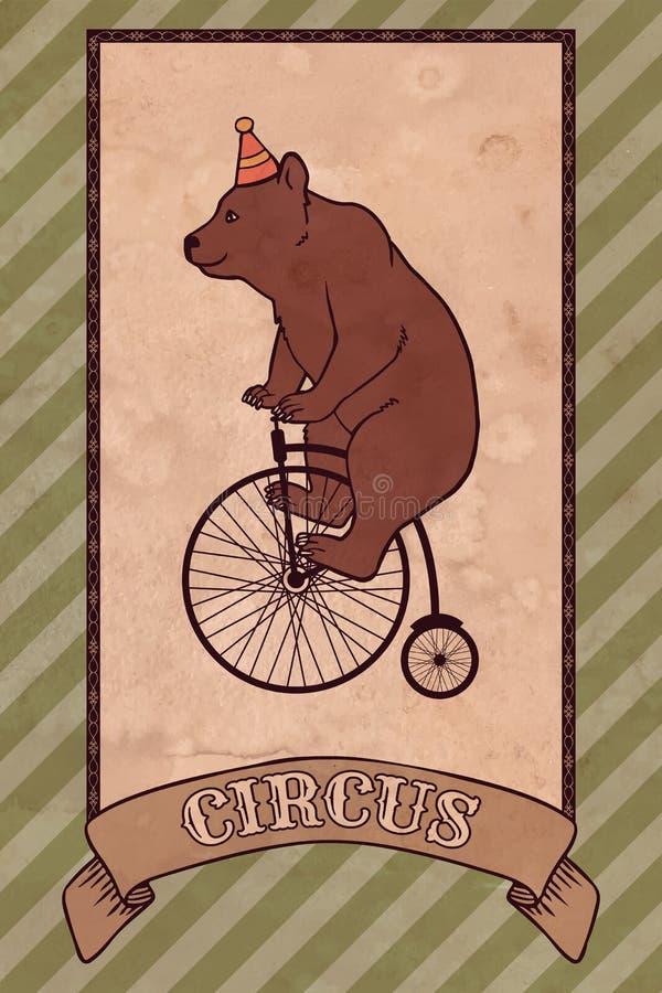 Illustrazione d'annata del circo, orso illustrazione di stock