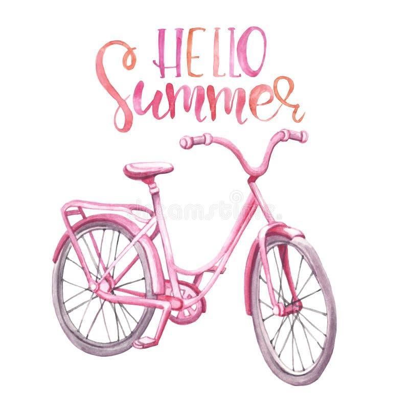 Illustrazione d'annata della bicicletta di rosa dell'acquerello incrociatore disegnato a mano della spiaggia, isolato su fondo bi illustrazione di stock
