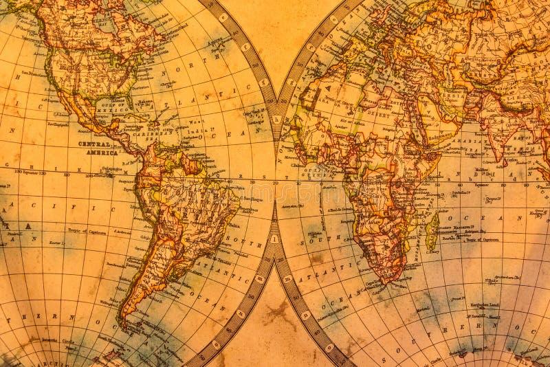 Illustrazione d'annata della mappa antica dell'atlante del mondo su vecchia carta immagini stock