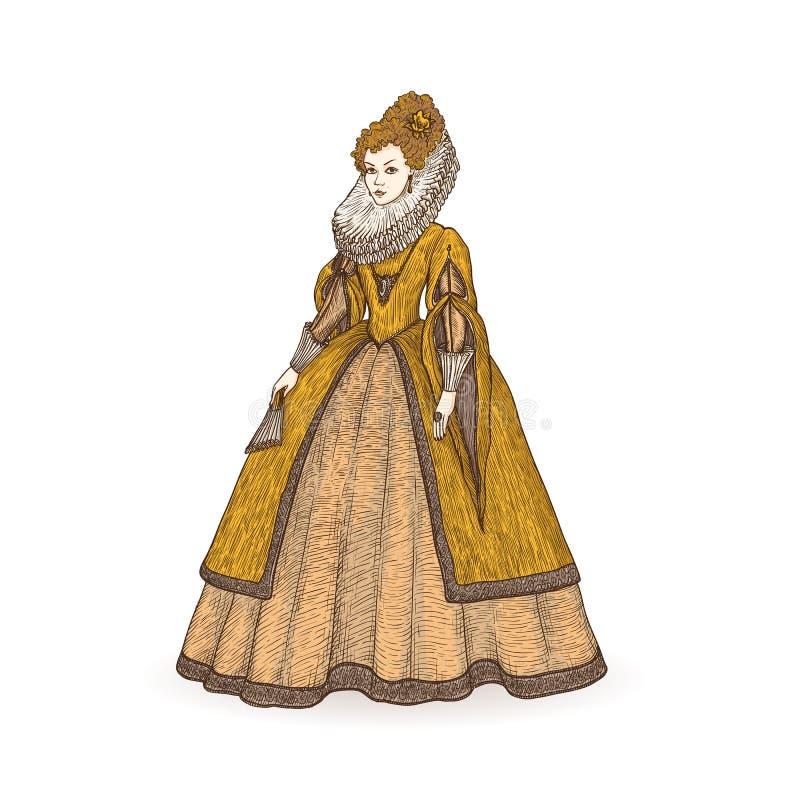 Illustrazione d'annata di schizzo di vettore XVI secolo elisabettiano di epoca della gentildonna Signora medievale in un vestito  royalty illustrazione gratis