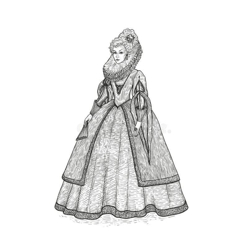 Illustrazione d'annata di schizzo di vettore XVI secolo elisabettiano di epoca della gentildonna Signora medievale in un vestito  illustrazione di stock
