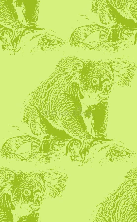 Illustrazione d'annata di un orso di koala Reticolo animale senza giunte illustrazione vettoriale