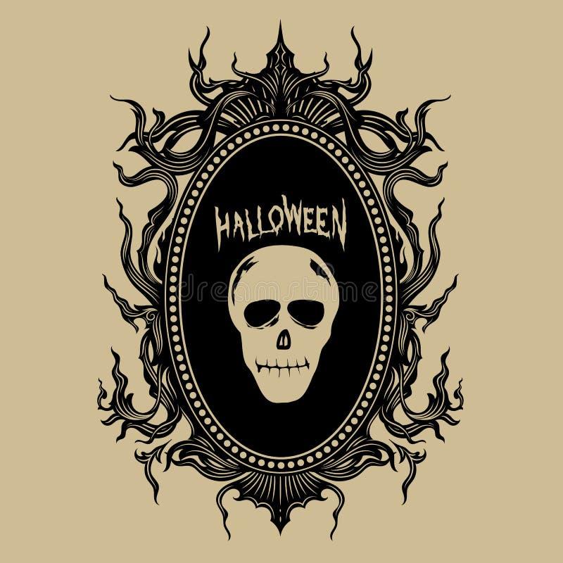 Illustrazione d'annata di vettore degli autoadesivi di Halloween del distintivo di tiraggio della mano illustrazione di stock