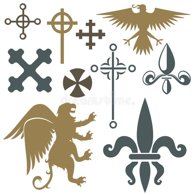 Illustrazione d'annata di vettore del distintivo del castello dell'araldica di simbolo di re della cresta degli elementi medieval royalty illustrazione gratis