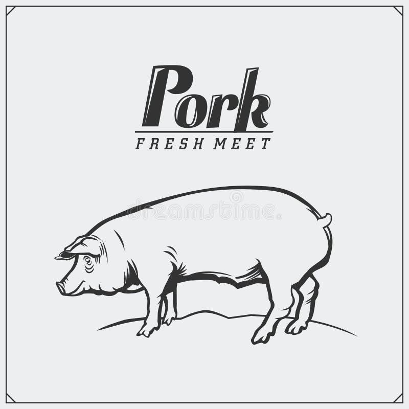 Illustrazione d'annata di vettore del maiale Etichetta ed emblema freschi della carne suina royalty illustrazione gratis